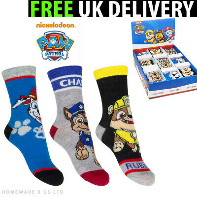 Boys Socks 3 Pairs Pack ( 6-8 9-12 13-3 Official Paw Patrol Chase Kids Childrens