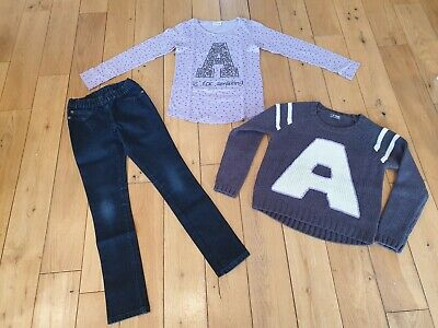 NEXT Bundle Outfit Blue Jeggings LS Lilac T-Shirt & Knit Jumper Age 10 Letter A