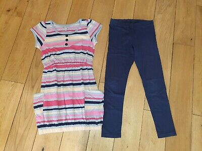 M&S Indigio Collection Tunic Top & Leggings Set Outfit Age 8 Pink Navy Stripes