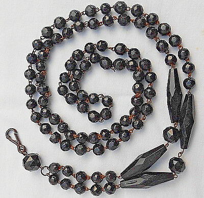 """Antique Victorian Glass Beads Faceted Lorgnette Ladies Chatelaine 47""""  Necklace"""