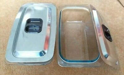 2x Hostess Trolley Serving Pyrex Glass Dishes Stainless Steel Lid Ecko Philips