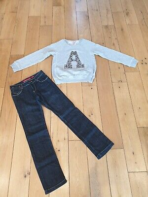 NEXT Miss Sixty Bundle Outfit Blue Jeans & Grey Sweatshirt Age 10 Letter A