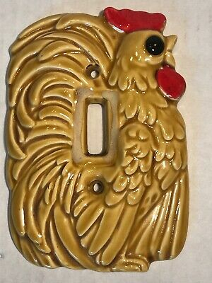 Vintage Enesco Ceramic Rooster Light Switch Plate Cover 1970s Mid Century