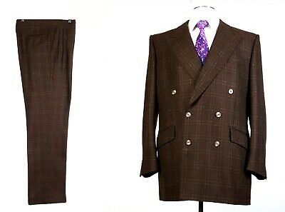 Loro Piana Fabric 44L Pure Cashmere Tweed Suit Pleated Pants 35x35 Double Breast
