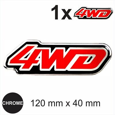 4WD Chrome Red Stickers 4 whells Domed 3d Gel Resin Badge Decal Emblem 120x40 mm
