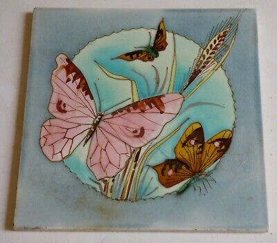 ° Rare and absolutely lovely BUTTERFLY Saint Amand Tuble lined ART NOUVEAU Tile