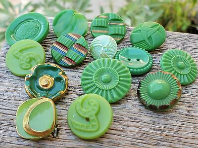 Mixed Lot 17 VTG Opaque Green Glass Buttons German Czech Crafts Jewelry Sewing
