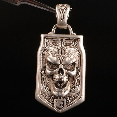 Chinese Tibet Silver Pendant Plate Skull Exorcism Mascot Craft Collection Gift