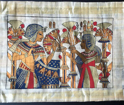 """Egyptian Papyrus Original Hand Painted Made in Egypt 16"""" X 10-1/2"""". Modern Art"""