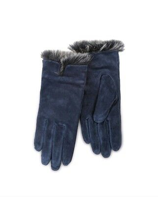Totes Isotoner Navy Gloves Luxury Suede with Faux Fur Spill. Blue Medium Ladies