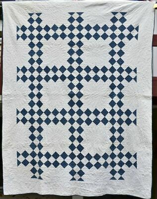 """""""Double Irish Chain"""" Blue and White Antique Quilt, Bordered, Nice Print #18632"""
