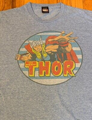 The Mighty Thor / Marvel Comics / Mad Engine Usa / Vintage Blue T-Shirt Size Xl