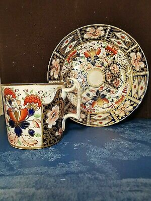 Antique Early 19th Century Royal Crown Derby Imari  Cup and Saucer Blue & Gold