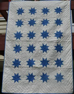 """Blue and White Antique Crib Quilt, """"Ohio Star"""", Well Quilted, # 18601"""