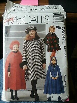 McCALL'S EASY Pattern 7359 Girls Lined Coat, Cape, and Hat size 7, 8, 10