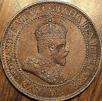 1909 CANADA LARGE CENT PENNY LARGE 1 CENT COIN - Fantastic example!