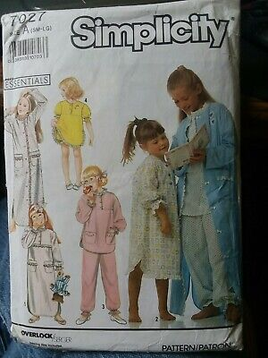 Simplicity Pattern 7027 Girls Nightgown, Pajamas, Baby Doll, Robe size S, M, L