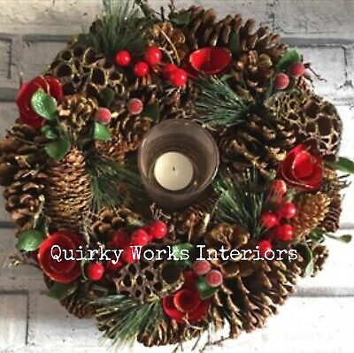 Traditional Christmas Table Centre Piece Decoration Wreath Candle Holder