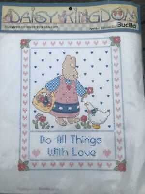 Daisy Kingdom Stamped Cross-Stitch Sampler Do All Things with Love Rabbit
