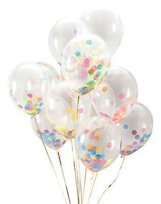 "6 Pack 12"" Clear Latex Pastel Confetti Balloons - Birthday Wedding Party Decor"