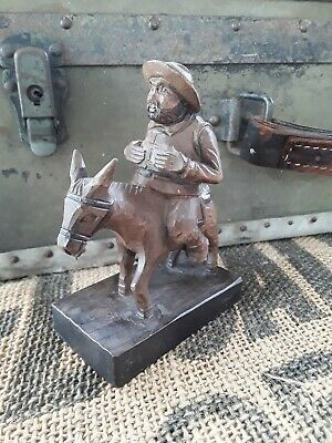"VINTAGE OURO ARTESANIA SANCHO PANZA WOOD CARVED ON DONKEY MADE IN SPAIN 5"" tall"