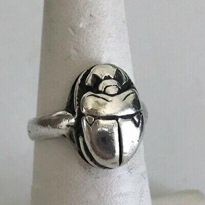 Sterling Silver 925 Ring Size 5 3/4 Scarab QuaLiTY Hieroglyphs on Reverse 7 G