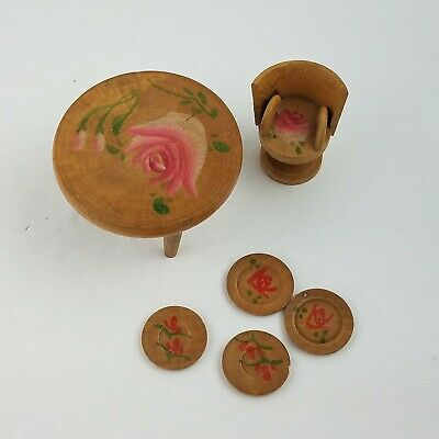 Vintage Miniature Dollhouse furniture Chinese Japanese Wood Table Stool Plates