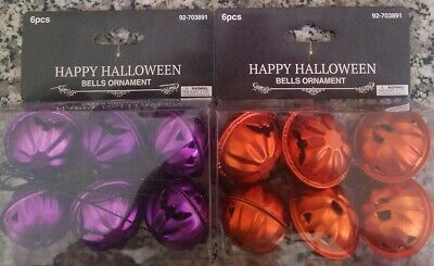 Halloween Pumpkin Bell Mini Metal Tree Ornaments 2 Sets of 6 Purple Orange NIP