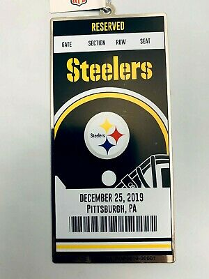 2 - Pittsburgh Steelers 2019 Ornament NFL Ticket Style Metal Christmas Wrap Tag