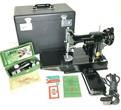 1955 Vintage Singer 221 Featherweight Sewing Machine With Pedal Case & Extras