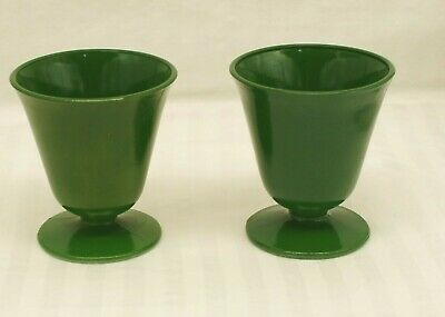 LOT of 2 Green Hazel Atlas Glass footed cups glasses, Fire King style, vintage