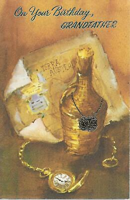 UNUSED vintage greeting card on your birthday Grandfather map wine pocket watch
