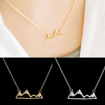 Jewelry Gold//Silver Plated Necklace Mountain/&Mountain Pendant Long Chain