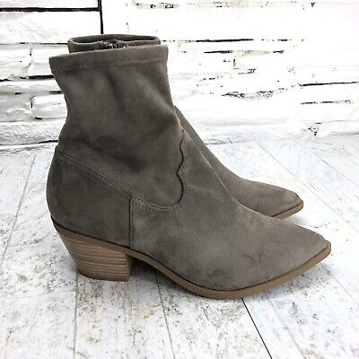 New Women Faux Suede Embroidered Stacked Heel Booties 18073 By Yoki Collection