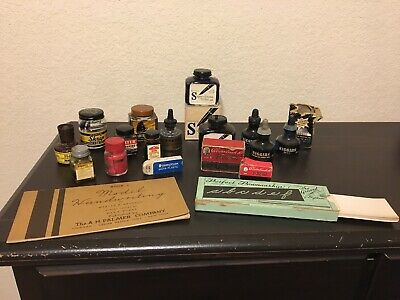 Lot Of Fountain Pen Ink Bottles, Etc. PARKER, HIGGINS, CARTER'S, SANFORD'S, Etc.
