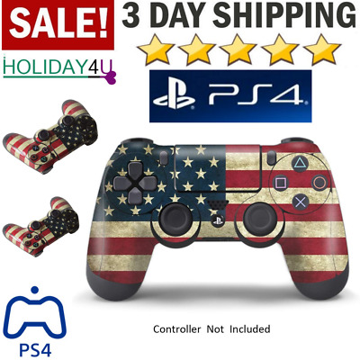 Playstation 4 Ps4 DualShock Wireless Game Controller Anti Slip Scratch USA Flags