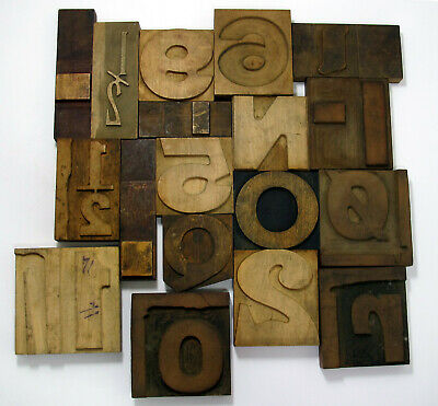 Vintage Antique Printing Wooden Letter Blocks