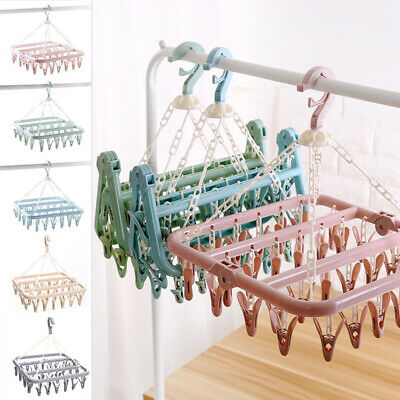 Useful 32Pegs Dryer Rack Plastic Foldable Sock Clothes Airer Hanger Clip Clamp