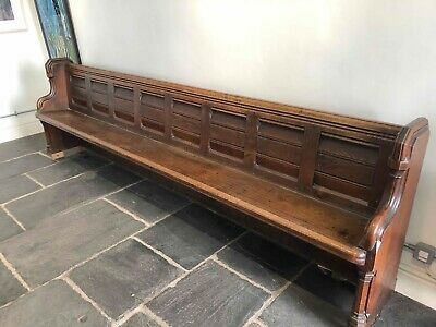 Victorian Solid Oak Church Pew Mid 1800's Antique 10.5ft Long