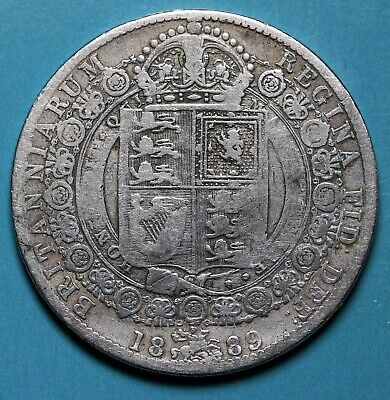 1889 UK Great Britain Sterling Silver Halfcrown Coin KM# 764, Sp# 3924