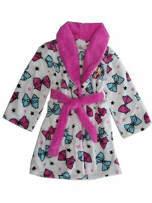 JoJo Siwa Big Girls White Pink Blue Bow Long Sleeve Bathrobe 6-12