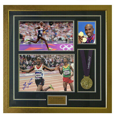 Signed Sir Mo Farah Photo & Replica Medal Framed Display - Olympic Champion
