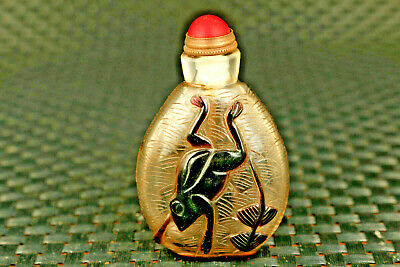 chinese old glass hand carved lovely frog statue snuff bottle
