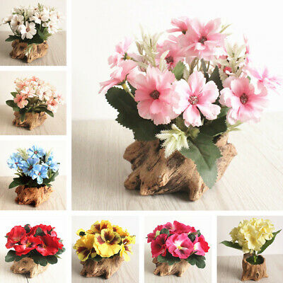 Artificial Chrysanthemum Pansy Hydrangea Silk Flower Bonsai Tree Root Shape Pot