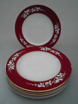 VINTAGE 1960's SET OF 6 PYREX  HAWTHORNE CLARET RED LUNCHEON SMALL DINNER PLATES