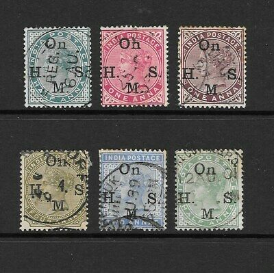 1883 Queen Victoria collection of On H M S Service 6 stamps Used INDIA