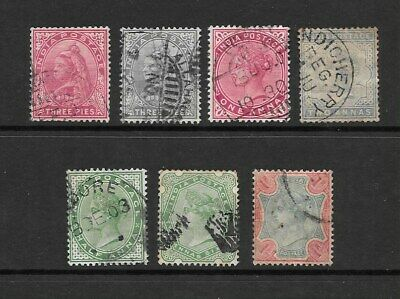 1890 Queen Victoria collection of  7  stamps Used INDIA