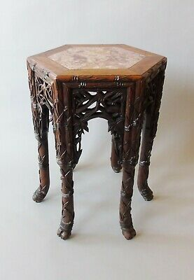 Antique Chinese Padouk Table / Stand with Marble Top