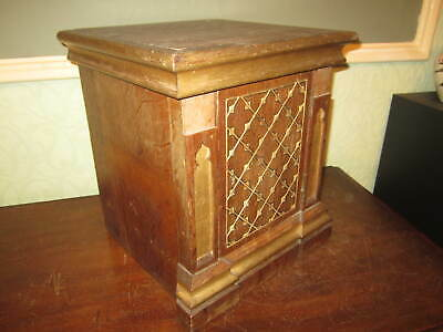 An old gothic oak bible box / cabinet / figure stand