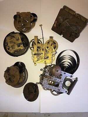 LOT OF VINTAGE Brass CLOCK MOVEMENTS PARTS REPAIR